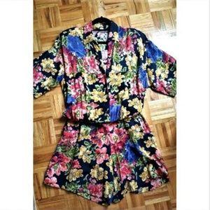 1990s floral black elastic waist romper jumpsuit